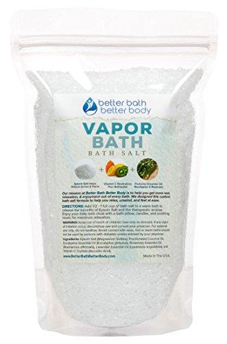 Vapor Bath Salt - Epsom Salt With Eucalyptus & Rosemary Essential Oil & Vitamin C - Soothing Vapors To Relax, Unwind, Release - Natural Bath Soak With Zero Perfumes Zero Dyes