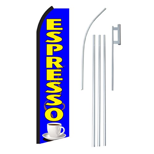 "NEOPlex - ""Espresso"" Complete Flag Kit - Includes 12' Swooper Feather Business Flag With 15-foot Anodized Aluminum Flagpole AND Ground Spike"