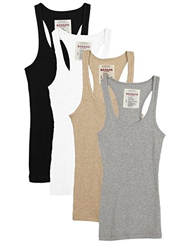 Zenana Outfitters 4 Pack Womens Basic Ribbed Racerback Tank Top BLACK/WHITE/HGREY/HBEIGE L