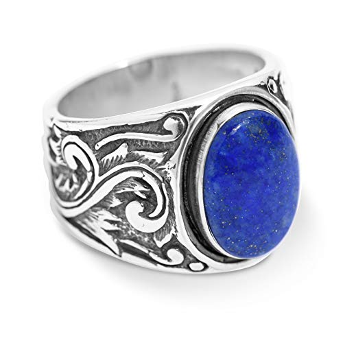 American West Sterling Silver Blue Lapis Gemstone Scroll Leaf Wide Ring Size ()