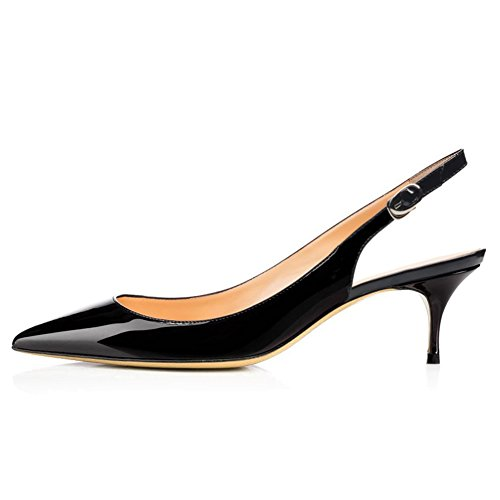 (VOCOSI Slingbacks Pumps for Women,Low Kitten Heels Comfortable Pointy Toe Pumps Shoes Black 9 US)