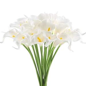 GTIDEA 20Pcs Fake PU Calla Lily Artificial Flowers Bride Wedding Bouquet for Table Centerpieces Arrangements Home DIY Garden Office Decor (White) 1