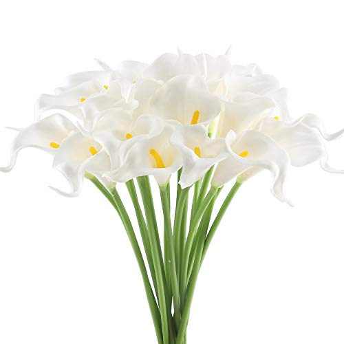 GTIDEA 20Pcs Fake PU Calla Lily Artificial Flowers Bride Wedding Bouquet for Table Centerpieces Arrangements Home DIY Garden Office Decor (White)