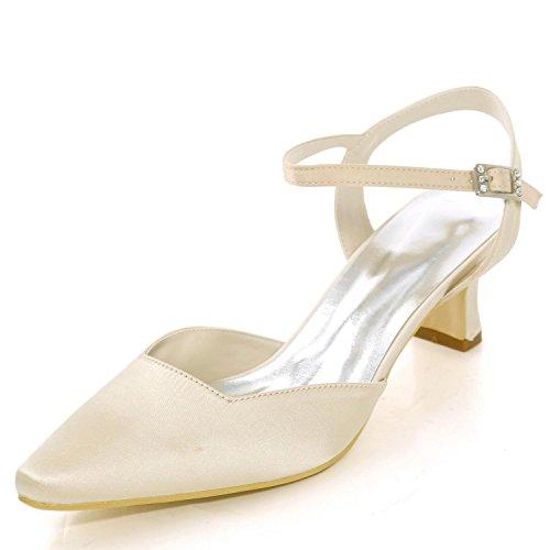Zapatos Boda Dedo 16 Del 0723 Honor Las Tamaño Pie L Satén Dama Cerrado Tacones Bajos yc Mujeres Gran Hebilla Champagne De 5xPtA1