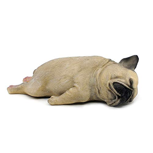 Comfy Hour Lying Sleeping Dog Pug Figurine, Home Decoration Gift for Dog Person, Brown & Black