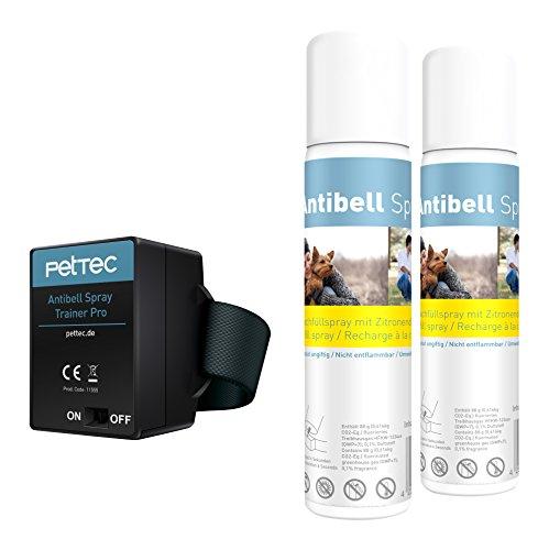 PetTec Antibell Spray Trainer Pro Erziehungshalsband mit automatischer Sprühfunktion inkl. Antibell Spray + 1 Gratisspray