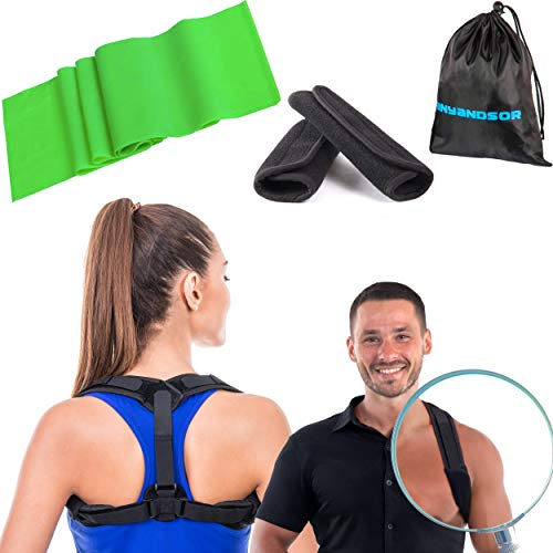 (Posture Corrector for Women and Men - Body Wellness Posture Corrector | Corrector de postura - Fully Adjustable Back Brace for Neck, Shoulder & Back Pain Relief (Resistance Band) )