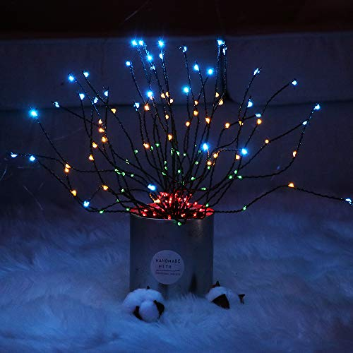 200 LED Colorful Twig Branch Light for Vases, Light Up Battery Operated Hanging Twig Tree Branches Fairy Light Starburst Valentine's Gift for Home, Party, Wedding Decor - 6.23ft (Colorful)
