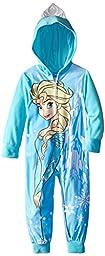 Disney Little Girls\' Frozen Snow Queen Hooded Blanket Sleeper, Blue, 4