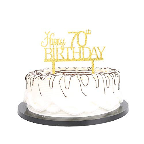 Gold Happy 70th Birthday Cake Topper 70th Birthday Party Decoration Ideas | Quality Acrylic | Perfect Keepsake (Happy 70th Gold)]()