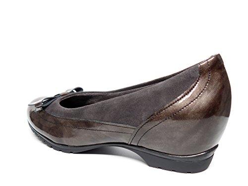PITILLOS Manoletinas Damen komfortabel Lack Leder kombiniert mit vor, erhältlich in Farbe Rauch und in Schwarz–�?411–�?74 Rauchfarben (humo)