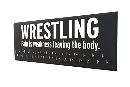 Wrestling medal display - PAIN IS WEKANESS LEAVING THE BODY - Gift for wrestler - Wrestling awards hanger - Wrestling ribbons plaque hanger by Running On The Wall