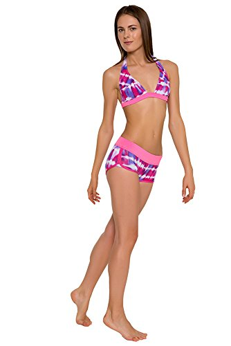 GLIDESOUL Mujer 0,5mm Tie Dye cuello hatler Bikini Top–Violet-Pink Prnt/Grande, color rosa