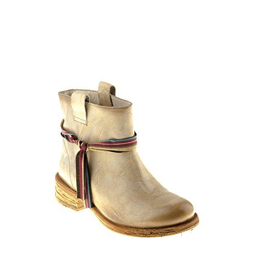 Felmini Zapatos Para Mujer - Enamorarse com Gardenia A956 - Botas Classic - Cuero Genuino - Beige Beige