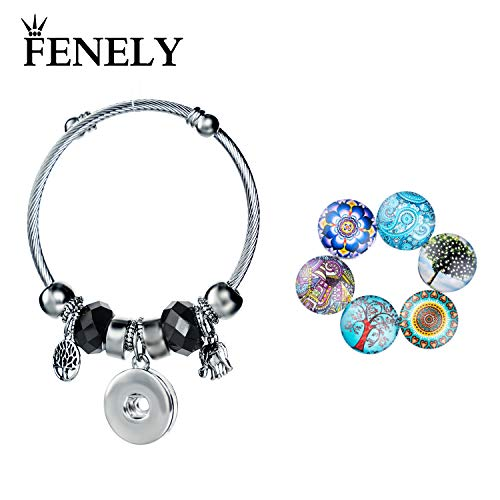 (FENELY Snap Bracelet Button Jewelry Charms Tree of Life Elephant Womens Silver Bangles Snaps Sets DIY Charm Bracelets for Women Fashion Girls Gifts (Black))