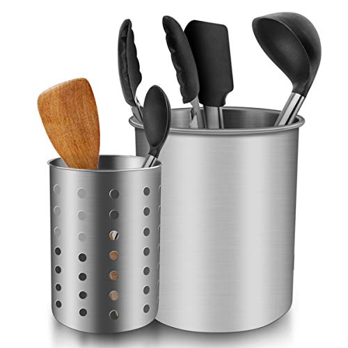 ENLOY Cooking Utensil Holder, Stainless Steel Rust Proof Large Kitchen Utensil Organizer for Forks, Spoons, Knives, Various Tableware, Desk Supplies, Dishwasher Safe, 7.2x7.2 inches, 6.8x5 inches