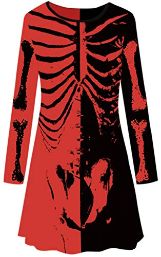 Holloween Women A Line Long Sleeve Funny Costume Skeleton Tunic Dress Black & Red L -