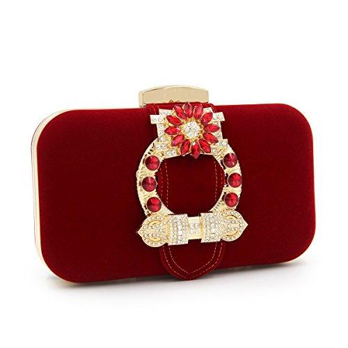red qualité de Embrayages Dames Femme Main Daim Embrayage Sacs Femmes Soirée TuTu Mariage Sac Sacs Top à 81xa5n6w