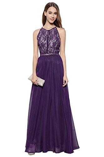 Sexy Halter Criss cross Lace&Chiffon Long Evening Prom Women Dress dark purple 8