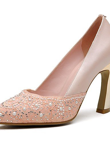 GGX/ Zapatos de mujer-Tacón Stiletto-Tacones / Puntiagudos-Tacones-Oficina y Trabajo / Casual / Fiesta y Noche-Cuero-Azul / Rosa / Beige , pink-us8 / eu39 / uk6 / cn39 , pink-us8 / eu39 / uk6 / cn39 beige-us6 / eu36 / uk4 / cn36