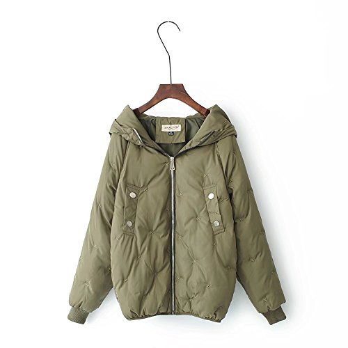 Lsm-Jacket Women's Hooded Short Down Jacket Thickened Loose Cotton Coat Military Green