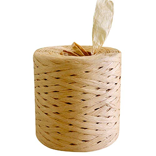 218 Yards Raffia Paper Ribbon Kraft for DIY Craft Decoration and Weaving Twine, 1/4 Inch Wide