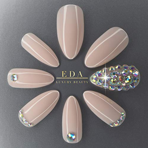 EDA LUXURY BEAUTY NATURAL NUDE PINK 3D GLAMOROUS JEWEL DESIGN Full Cover Press On Gel Glitter Artificial Tips Acrylic Shiny False Nails Extra Long Oval Round Almond Stiletto Super Fashion Fake Nails