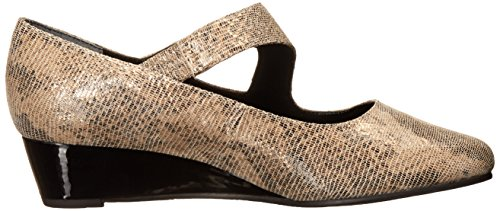 Ros Hommerson Women's Beau Crocodile Strappy Wedge Sandal Taupe/Gold RWUJsOsD