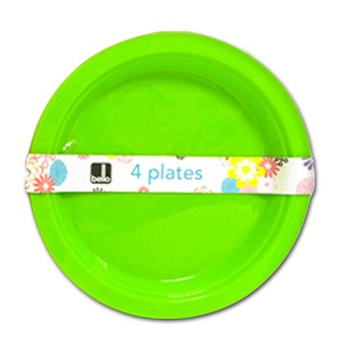 """Bello"" Pack of 4 Re-Usable Plastic Plates - For Parties, Picnics & BBQ's"
