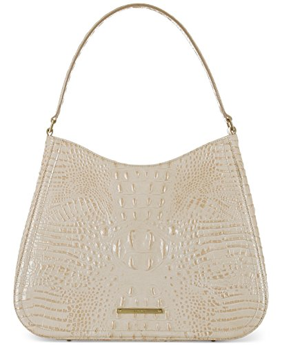 Brahmin Womens Melbourne Vada Textured Lined Hobo Handbag Ivory Medium