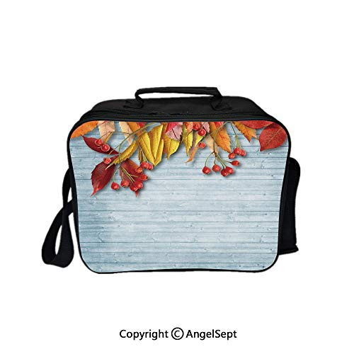 Hot Sale Lunch Container,Vintage Autumn Composition with Dried Rowan Leaves Berries on Wooden Planks Decorative Baby Blue Red Yellow 8.3inch,Lunch Bag Large Cooler Tote Bag For Men, Women