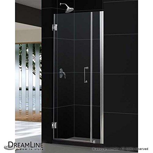 """Dreamline Frameless Shower Door, 26"""" Wide Unidoor w/ 6"""" Stat"""