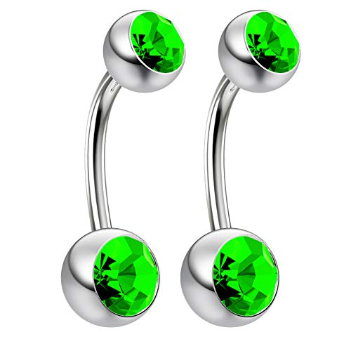 2pc 14g Swarovski Crystal Belly Button Ring CZ Peridot Green Jeweled 3/8 Sexy Women Navel Rings