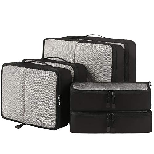 6 Set Packing Cubes,3 Various Sizes Travel Luggage Packing Organizers (Black net)