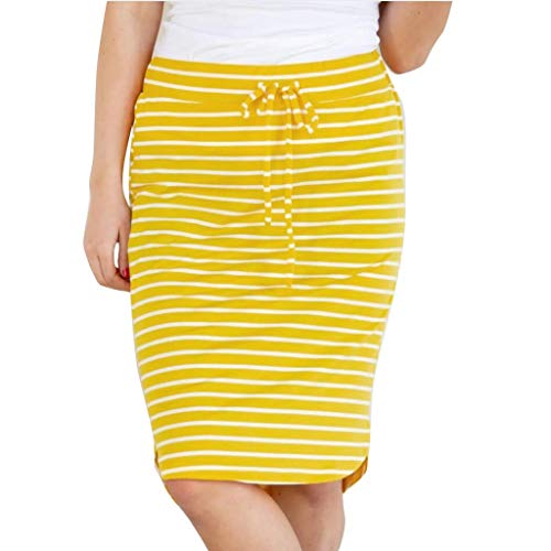 (Stripe Short Skirt for Women Knee Length Casual Striped Skirts Summer Elastic)