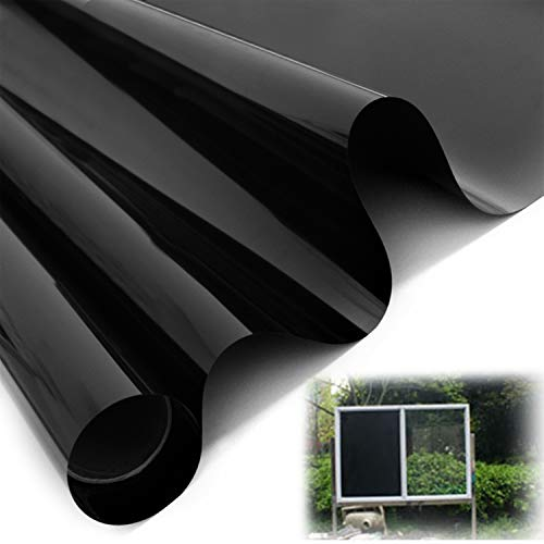 Fullsexy Static Cling Blackout Window Film - Removable No Glue Privacy Window Tint for Home (78.5 x 15.5 inch) (Black)