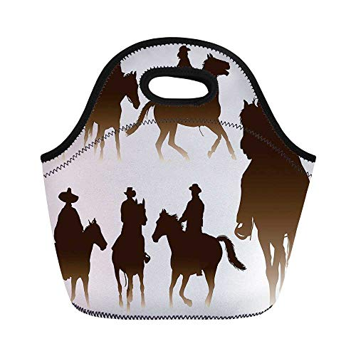 (Western Durable Lunch Bag,Collection of Horseback Riding Silhouettes Bridle Ranch Stallion Equestrian Theme Decorative for School Office,11.0
