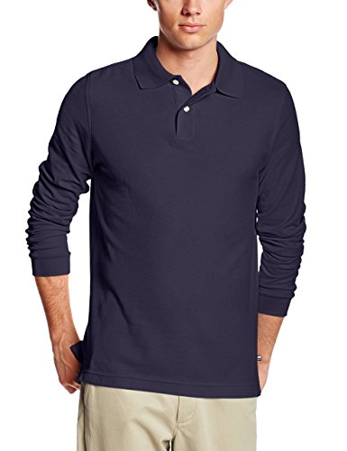 Lee Uniforms Men's Long Sleeve Polo, Navy, Large