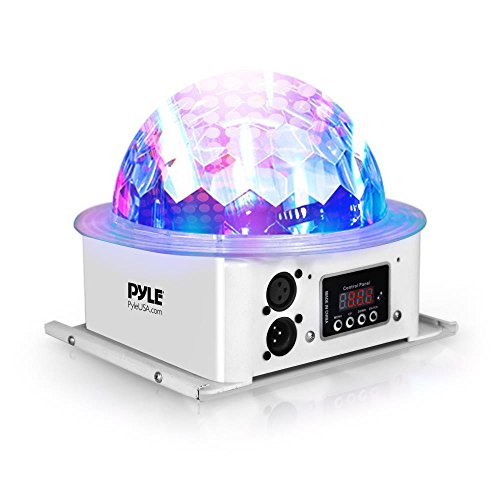 Pyle Rotating Moving Stage Light - for Professional DJ Show Performance or Dance Party with RGB Color LED Projector Bulb, Flashing Disco Strobe, Beat Sync Motion Effect and DMX Control - Black Professional Dj Lighting