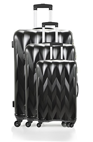 Manoukian Set de 3 trolleys rígidos Heathrow Negro