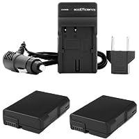 ecoEfficiency 2-Pack of EN-EL14, EN-EL14A Batteries + 1 AC Charger with Car Adatper for Nikon D3100, D3200, D3300, D3400, D5100, D5200, D5300, D5500, DF, Coolpix P7000, P7100, P7700, P7800 DSLR Cameras