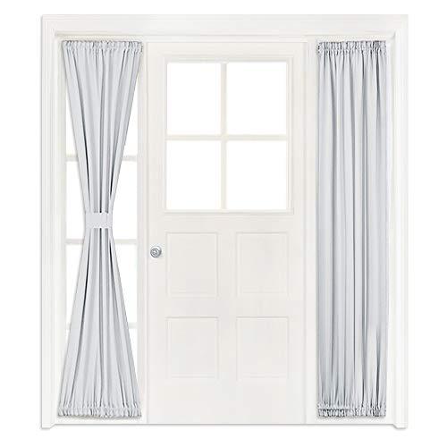 NICETOWN Greyish White Sidelight Door Panel - Room Darkening French Door Thermal Drapery Panel for Privacy (25