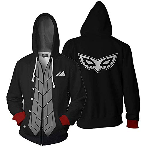 Mikucos Persona 5 P5 Cosplay Costume Jacket Hooded Hoodie Sweater Coat Joker 3XL
