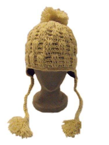 Hand knitted fleece gefüttert, Woll Creme Cableknit ChunkiChilli Strickmütze mit Ohrenklappen mit Bommel, fair trade, 100% Wolle, geeignet bei Skifahren, Snowboarden und Skaten