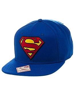 newest 68338 b848c Amazon.com  Superman Logo And Text Blue Snapback Hat  Sports   Outdoors