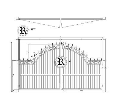 America's Fence Store 6' Tall 16' Opening Custom Over Arch Gate with Personal Emblem and Rings