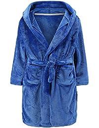 Boys Bathrobes, Toddler Kids Hooded Robes Soft Plush Fleece Pajamas Sleepwear for Boys & Girls (Royal Blue, Tag 130cm/ 6T)