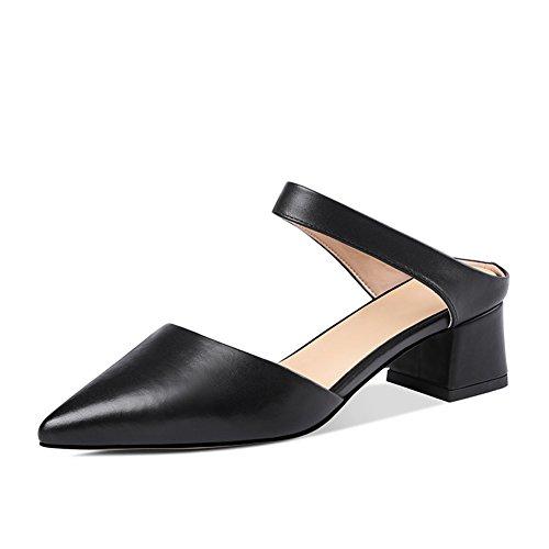Negro Poco Cuero UK3 5cm Baotou Color Tamaño Profunda Salvajes De Verano Mujer Primavera ZCJB Zapatos 22 L Boca EU36 Sandalias Mujer 6wI0gg
