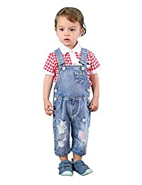Kidscool Baby & Toddler Girls/Boys Colorful Ripped Hole Summer Jeans Shortalls