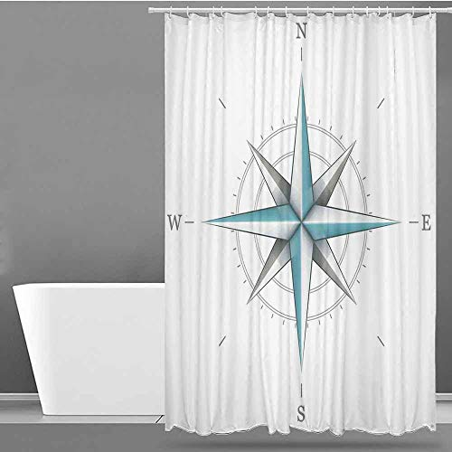 VIVIDX Long Shower Curtain,Compass,Antique Wind Rose Diagram for Cardinal Directions Axis of Earth Illustration,Shower Curtain with Hooks,W94x72L Blue Grey ()